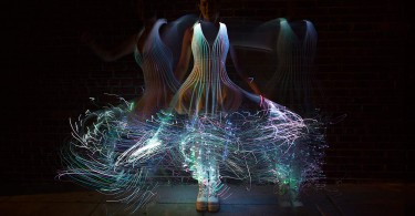 Natalie Walsh fiber optic dress